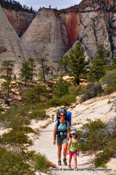 My wife and daughter backpacking Zion's West Rim Trail.