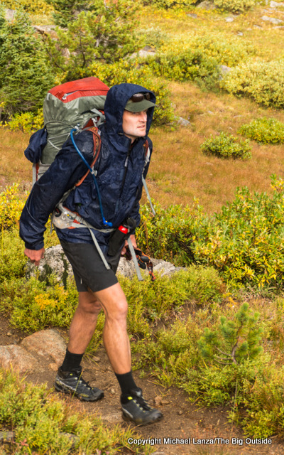 Backpacking in rain in Wyoming's Wind River Range.