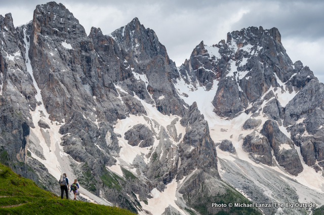 My wife and daughter trekking below the Pale di San Martino in Italy's Dolomite Mountains.