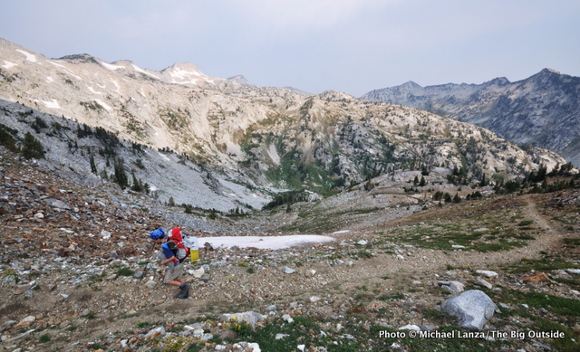 My son, Nate, backpacking toward Hawkins Pass in Oregon's Eagle Cap Wilderness.
