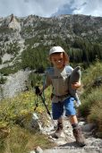 Nate and Flipper hiking to Alice Lake, Sawtooth Mountains, Idaho.