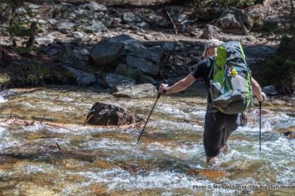 Chip Roser fording Pettit Lake Creek, Sawtooth Wilderness, Idaho.