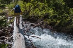 Nate crossing Pettit Lake Creek, Sawtooth Mountains, Idaho.