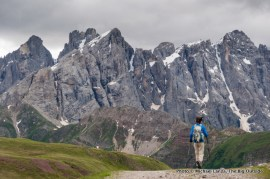 Hiking toward the Pale di San Martino.