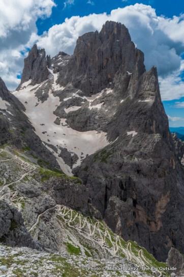 View of Trail 702, south of Rifugio Rosetta.