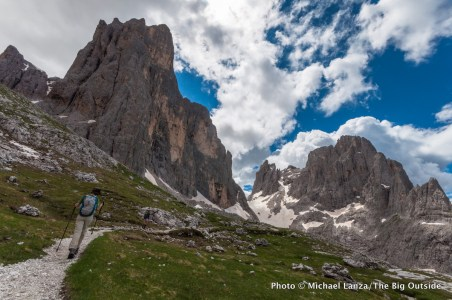 Trekkers on the Alta Via 2 in Italy's Dolomite Mountains.