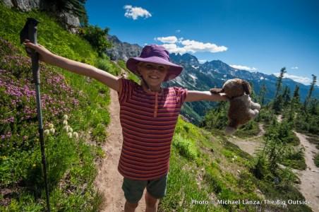 My daughter Alex on the trail to Spider Gap, Glacier Peak Wilderness, Washington.