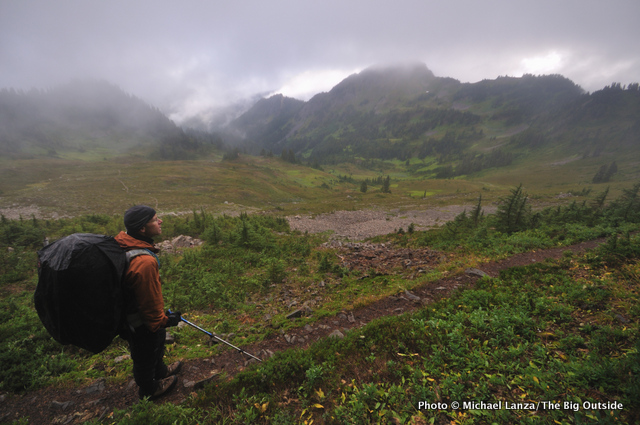 David Ports on a rainy day on the High Divide Trail, Olympic National Park.