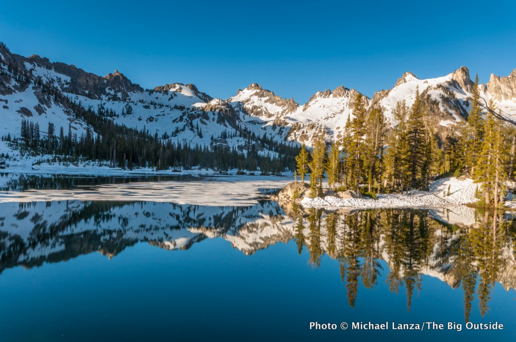 Alice Lake in Idaho's Sawtooth Mountains, Idaho, photographed in June, while snow remained there.
