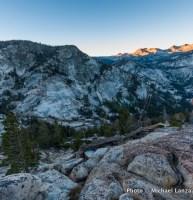 Dawn above Lyell Fork Canyon of Merced River, Yosemite National Park.