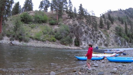 My son, Nate, fishing the Middle Fork Salmon River