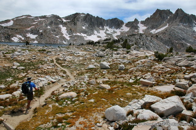 Mark Fenton hiking to Silver Pass, on the John Muir Trail in California's John Muir Wilderness.