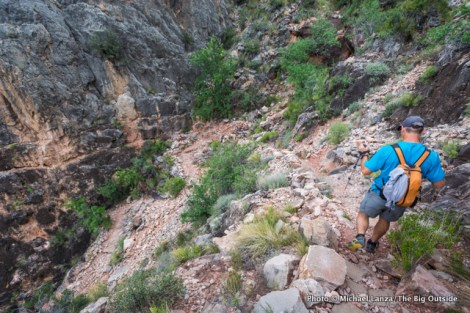 A hiker on the Grand Canyon's Hermit Trail.