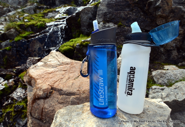 Lifestraw Go and Aquamira Frontier Flow Filtered Water Bottle