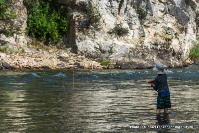 Evan fishing, Little Creek camp.