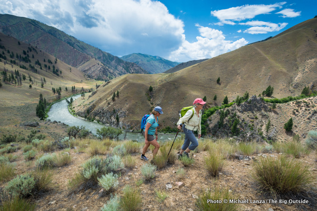 Barb and Penny hiking Mahoney Ridge, Middle Fork Salmon River Trail, Idaho.