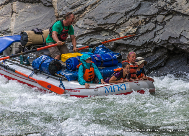 Matt's raft in Cliffside Rapid, Middle Fork Salmon River.