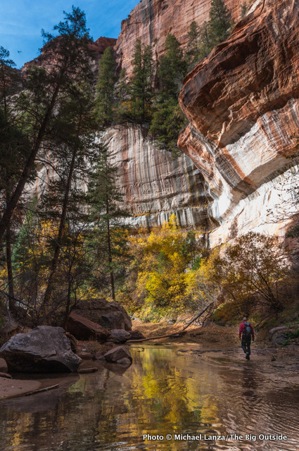 Hiking below The Subway section of the Left Fork of North Creek.