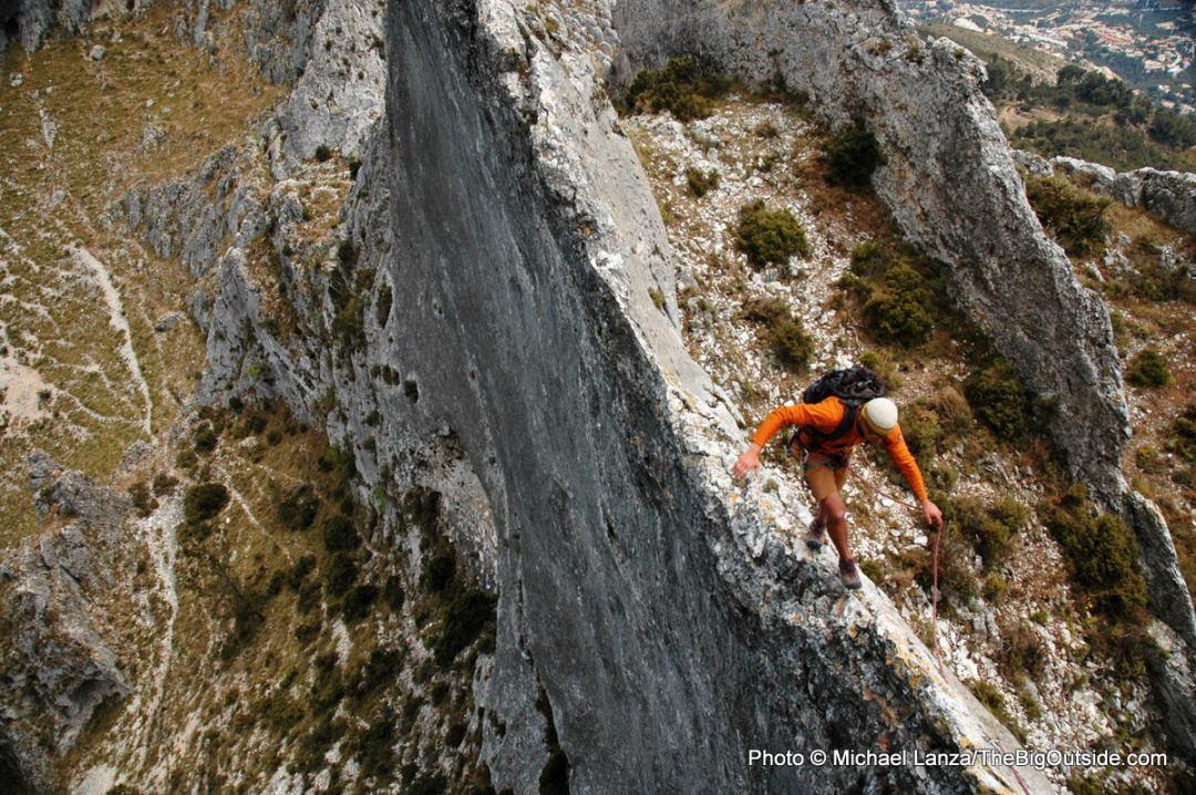 Scrambling Bernia Ridge in Spain's Aitana Mountains.