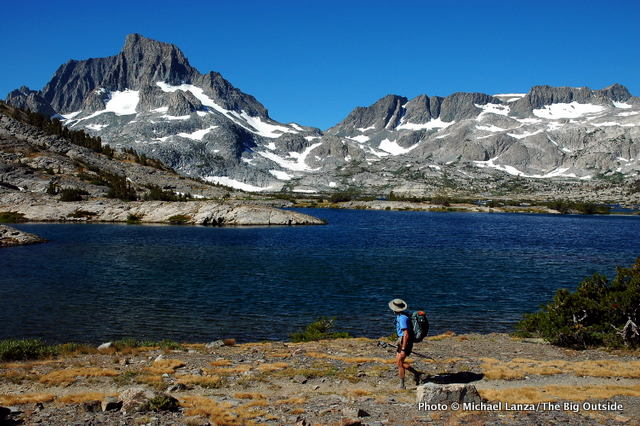 Backpacking the John Muir Trail past Thousand Island Lake, in the Ansel Adams Wilderness, California.