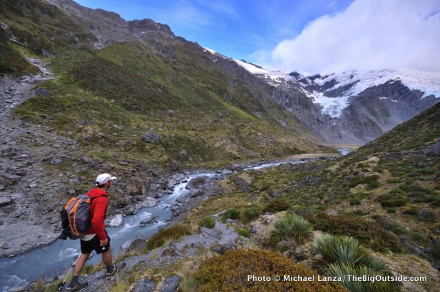 Hiking to Cascade Saddle on a trek of New Zealand's Rees-Dart Track.