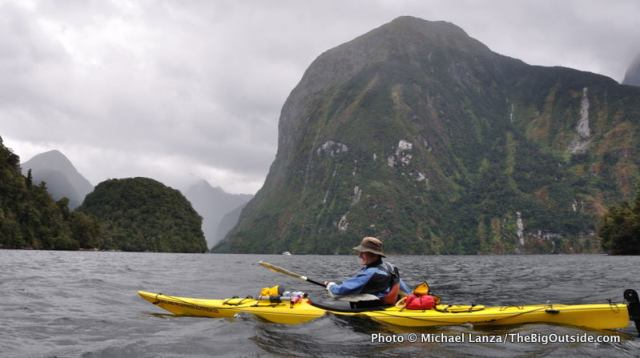 Sea kayaking Doubtful Sound, Fiordland National Park, New Zealand.