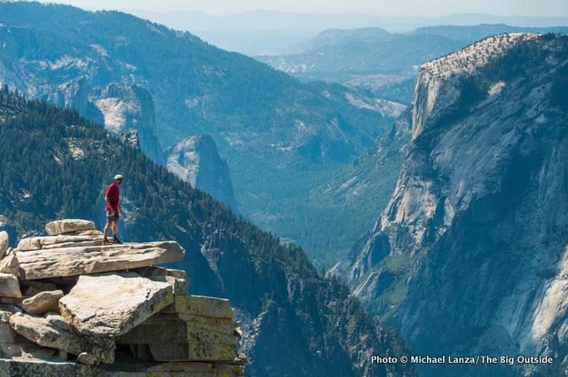 Mark Fenton on The Visor of Half Dome, high above Yosemite Valley.