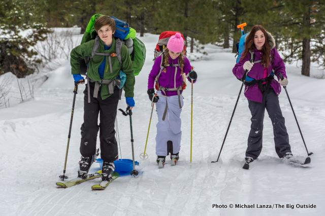 My son, Nate, daughter, Alex, and family friend Lili Serio, skiing to Banner Ridge yurt, Boise Mountains, Idaho.