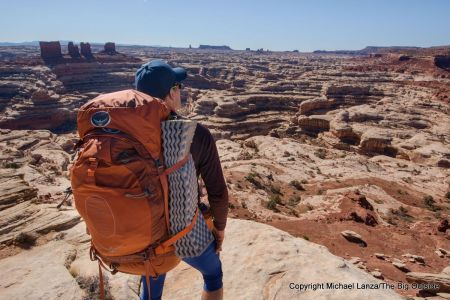 The Osprey Atmos AG 65 backpack at the Maze Overlook in Canyonlands National Park.