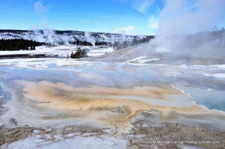 Upper Geyser Basin in winter.