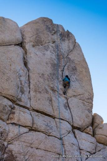 A climber on Sail Away, Real Hidden Valley.