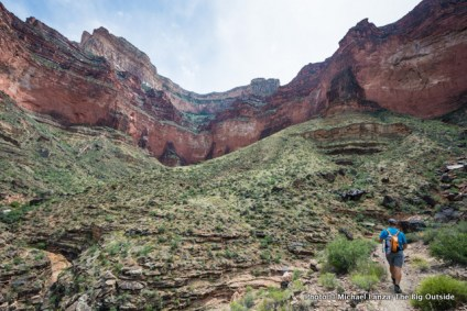 David Ports hiking the Tonto Trail at Salt Creek in the Grand Canyon.