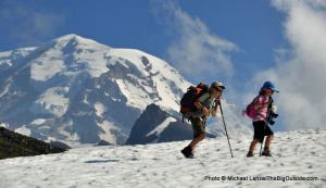 My kids backpacking below Mount Rainier.
