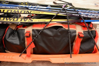 The North Face Base Camp Duffel on a sled.