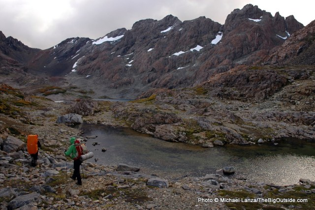 Hiking past Laguna Escondida on southern Chile's Dientes Circuit.