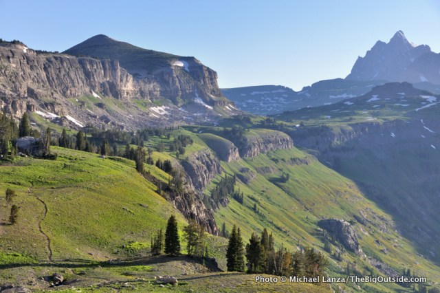The Teton Crest Trail on Death Canyon Shelf, Grand Teton National Park.