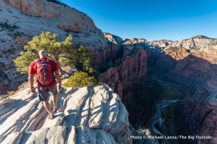A hiker on Angels Landing in Zion National Park.