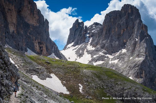 My family trekking the Alta Via 2 in the Dolomite Mountains, Italy.