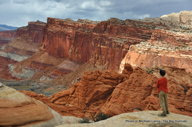 My son, Nate, hiking off-trail near the Frying Pan Trail, Capitol Reef National Park.
