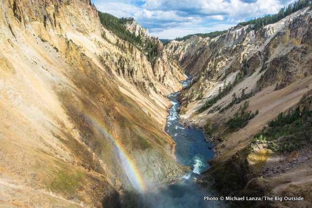 View down the Grand Canyon of the Yellowstone River from brink of Lower Yellowstone Falls.