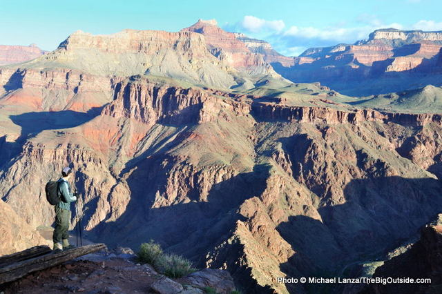 A hiker on a 44-mile, rim-to-rim-to-rim dayhike in the Grand Canyon.