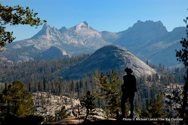 On the John Muir Trail overlooking the Cathedral Range, Yosemite National Park.