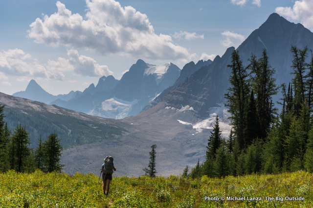 Backpacking the Rockwall Trail in Kootenay National Park, Canada.