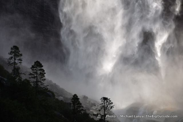 The bottom curtain of water from Upper Yosemite Falls, Yosemite National Park.