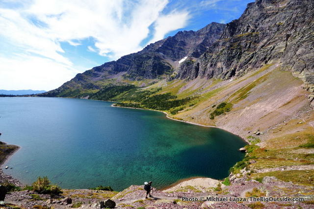 Jerry Hapgood hiking to Lake Ellen Wilson, Glacier National Park.