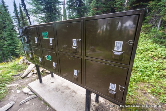 Food lockers in the backcountry camp at Floe Lake on the Rockwall Trail in Canada's Kootenay National Park.