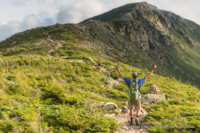 Mark Fenton exults in the view hiking toward Bondcliff in the White Mountains.