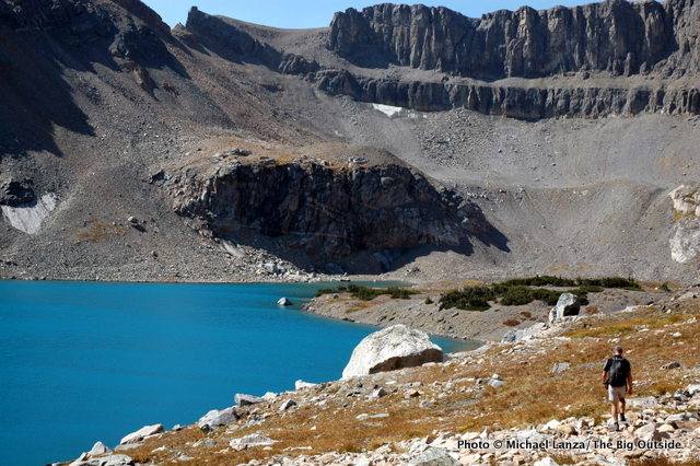 Hiking off-trail past Snowdrift Lake in upper Avalanche Canyon, Grand Teton National Park.