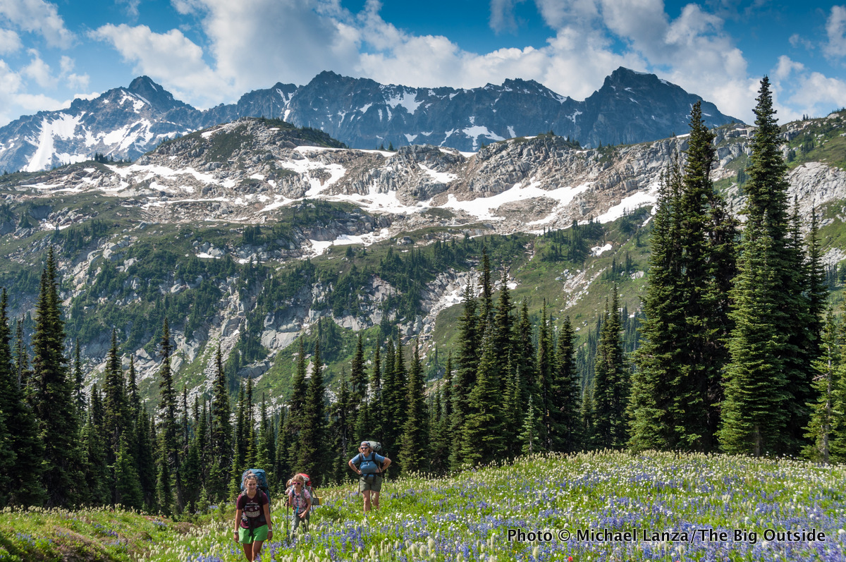 Backpackers on the Pacific Crest Trail in the Glacier Peak Wilderness.