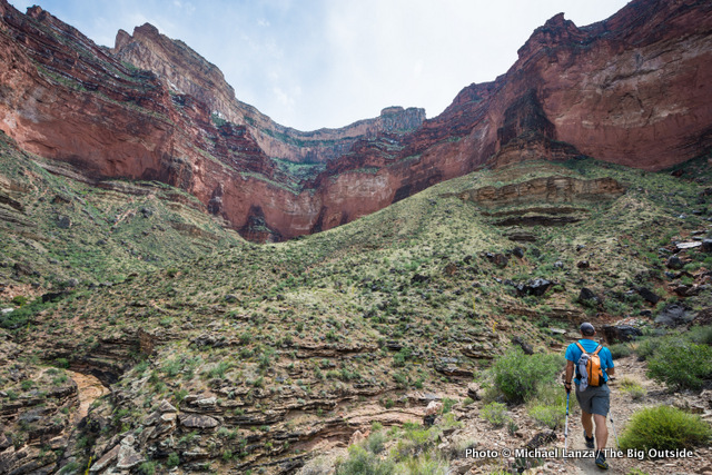 David Ports hiking the Tonto Trail in Salt Creek Canyon, Grand Canyon National Park.